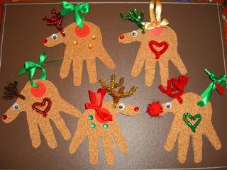 handshaped reindeer ornaments