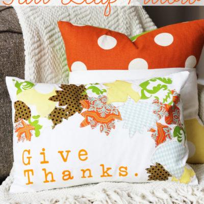 Appliqued Fall Leaf Pillow thumbnail