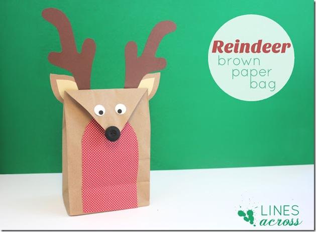 2 - reindeer brown paper bag
