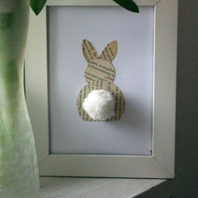DIY Book Page Bunny Art thumbnail