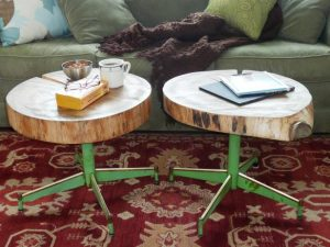 How to Make a Table Using a Log and Old Chair Legs