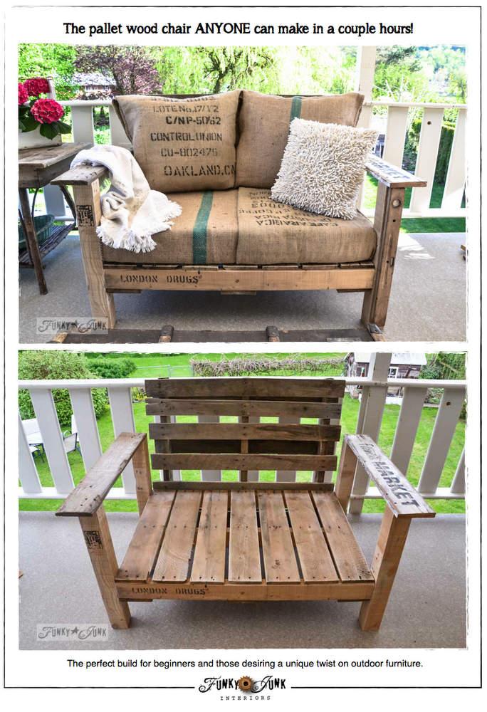 Pallet wood patio chair build