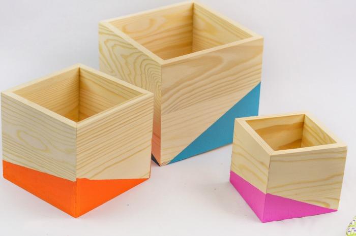 DIY Color Block Wood Planter