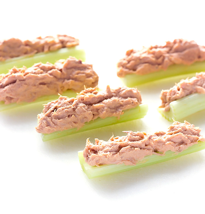 Buffalo Tuna Salad Stuffed Celery
