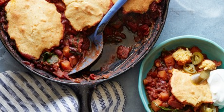 Vegetarian Skillet Chili Topped with Cornbread