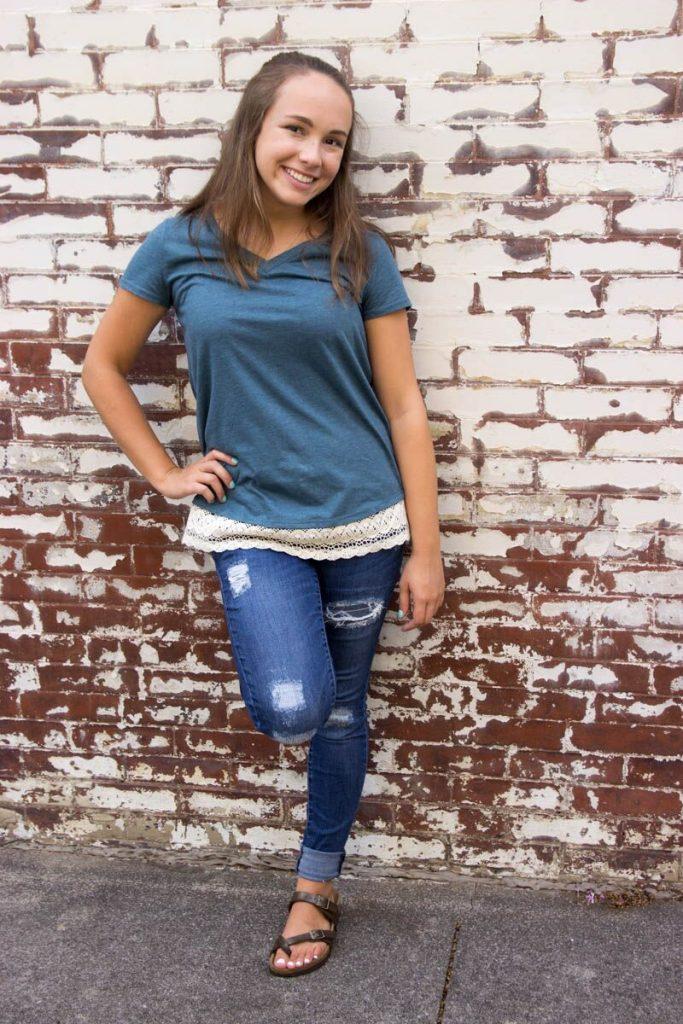 DIY Lace Trim Shirt