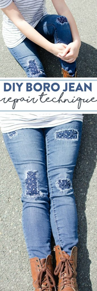 DIY Boro Jeans Repair | the new trendy way to fix up old jeans