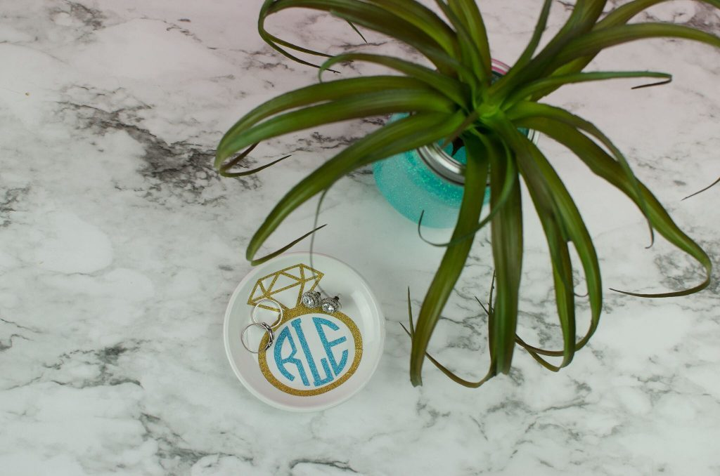 DIY Glitter Monogram Ring Dish