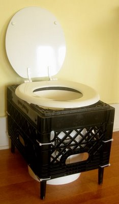 Dry Toilet Made From a Milk Crate