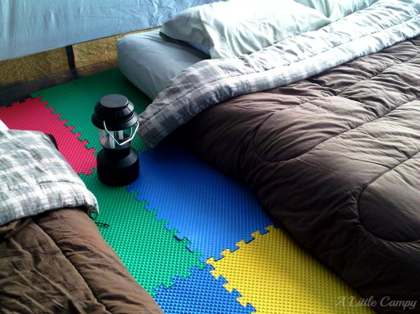 Tent Camping With Foam Floor Tiles