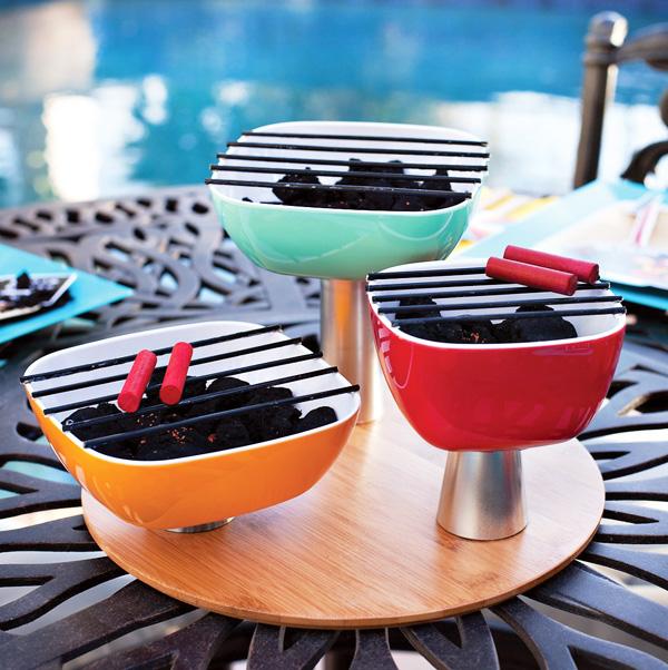 Mini Charcoal Grill Trio Centerpiece