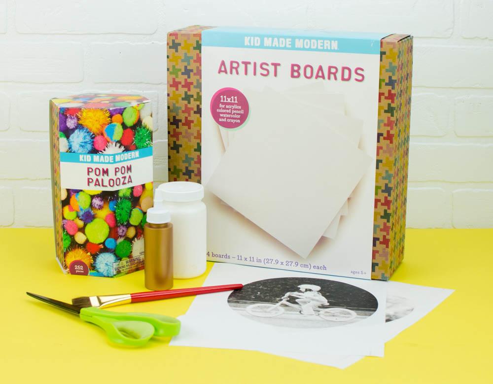 Pom Pom Framed Photo Canvas- a great babysitting craft idea!
