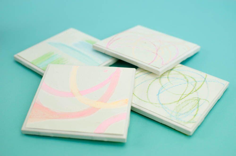 Pretty DIY Coasters From Kid's Art