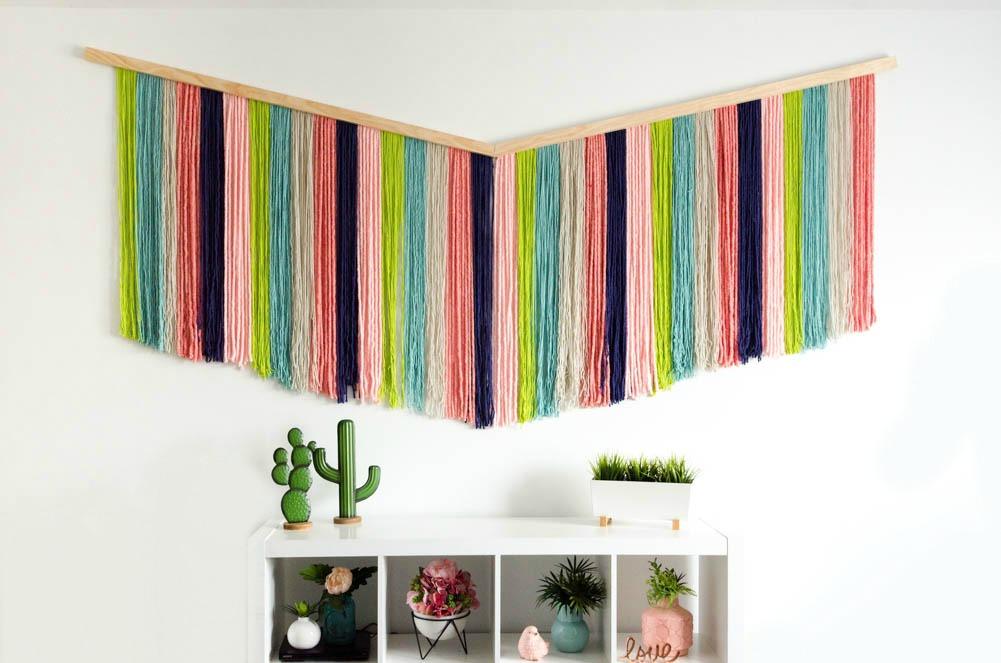 wall art, diy wall art, room decor, wall hanging, yarn art, yarn wall hanging, weaving
