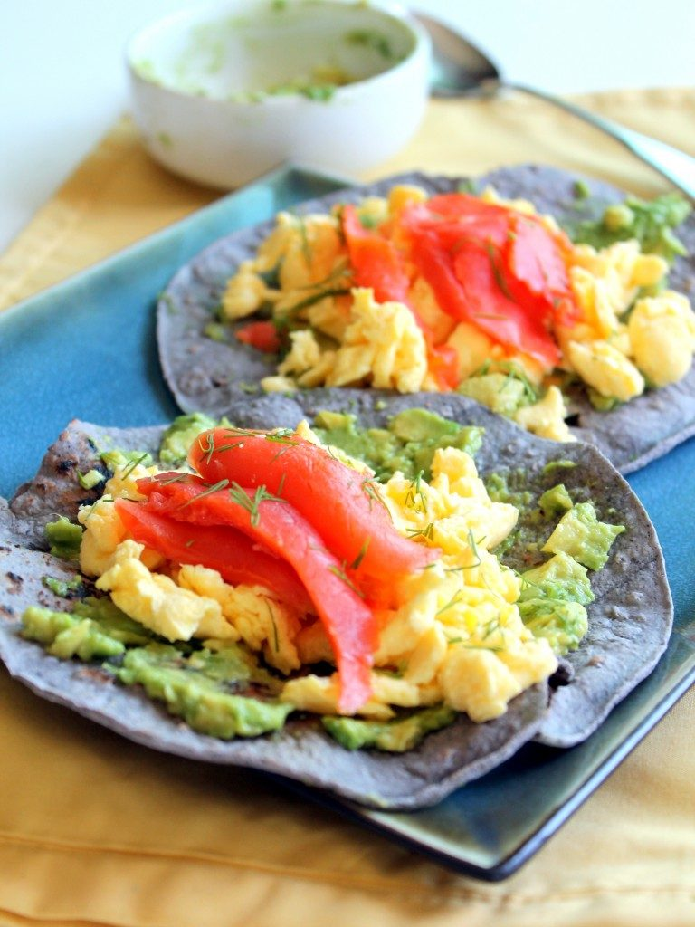 BLUE CORN BREAKFAST TACOS WITH SCRAMBLED EGGS, SMOKED SALMON, AVOCADO + DILL