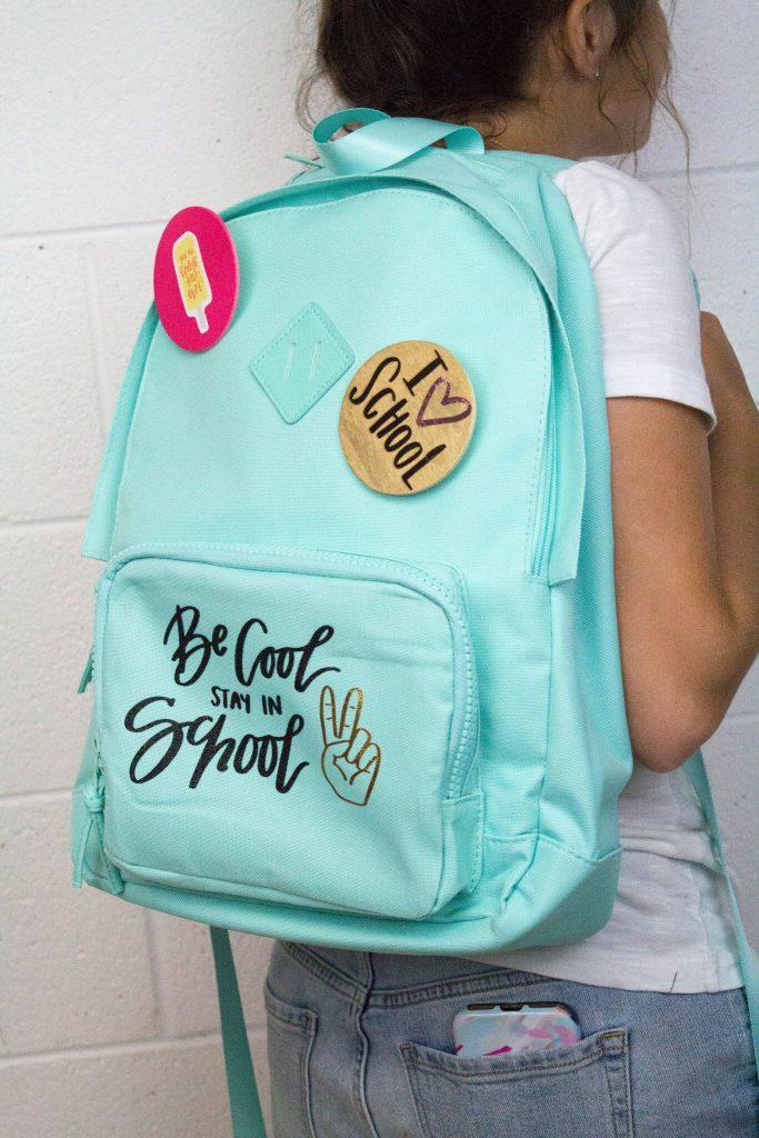 Multi-Layered Backpack Decal and Pins