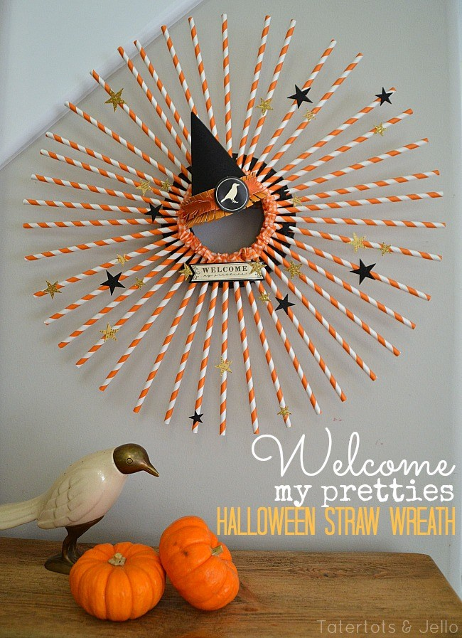 Halloween Straw Wreath and Halloween Plate Wall!