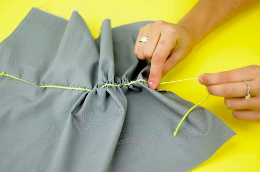 zigzag stitch over a piece of yarn to create a ruffle