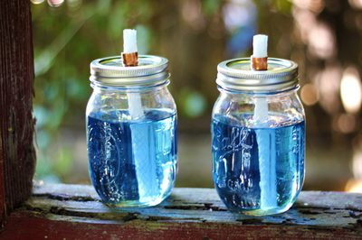 Mason Jar Citronella Torches