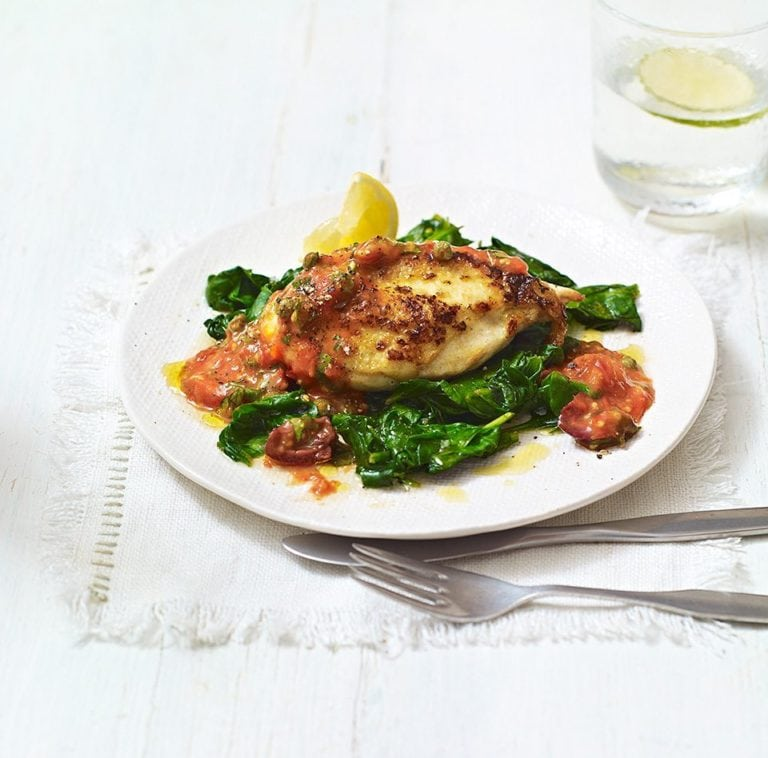 Grilled Cherry Tomato Sauce with Pan-fried Chicken Breast and Spinach