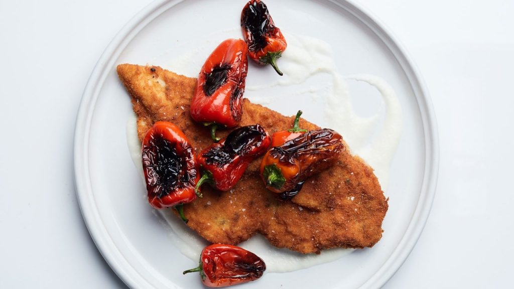 Chicken Cutlets with Charred Peppers