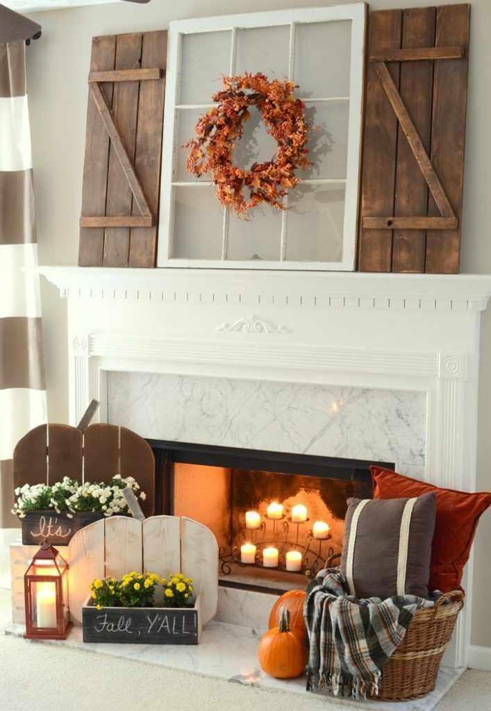 Rustic Fall Mantel with DIY Wood Pumpkins & DIY Barn Wood Shutters