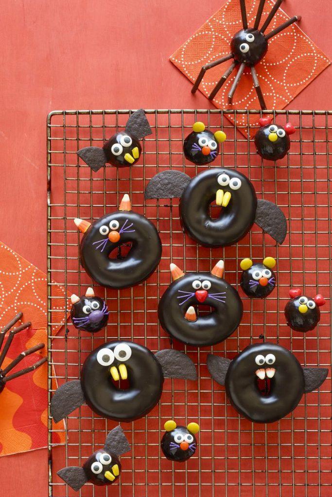 Black Cat, Bat, Spider, and Mice Doughnuts