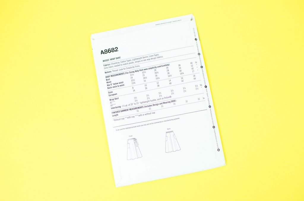 Back of sewing pattern showing information on measurements, fabric and tool recommendations.