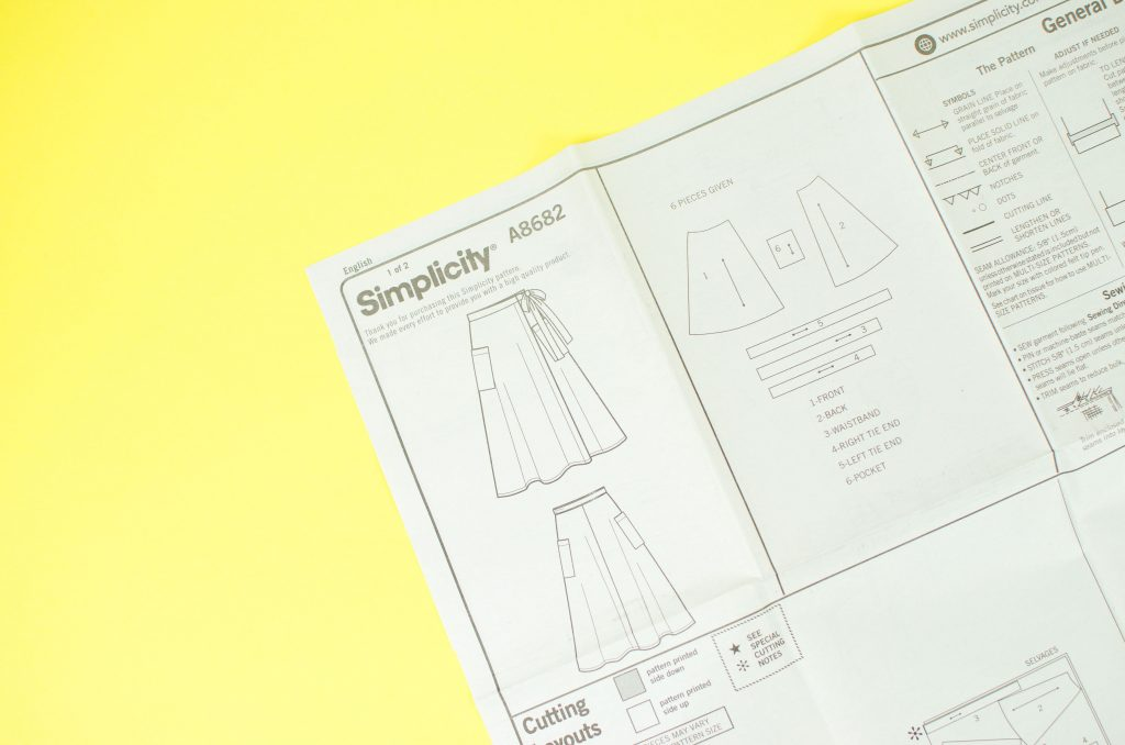 Sewing pattern instruction sheet showing sketch of the final product