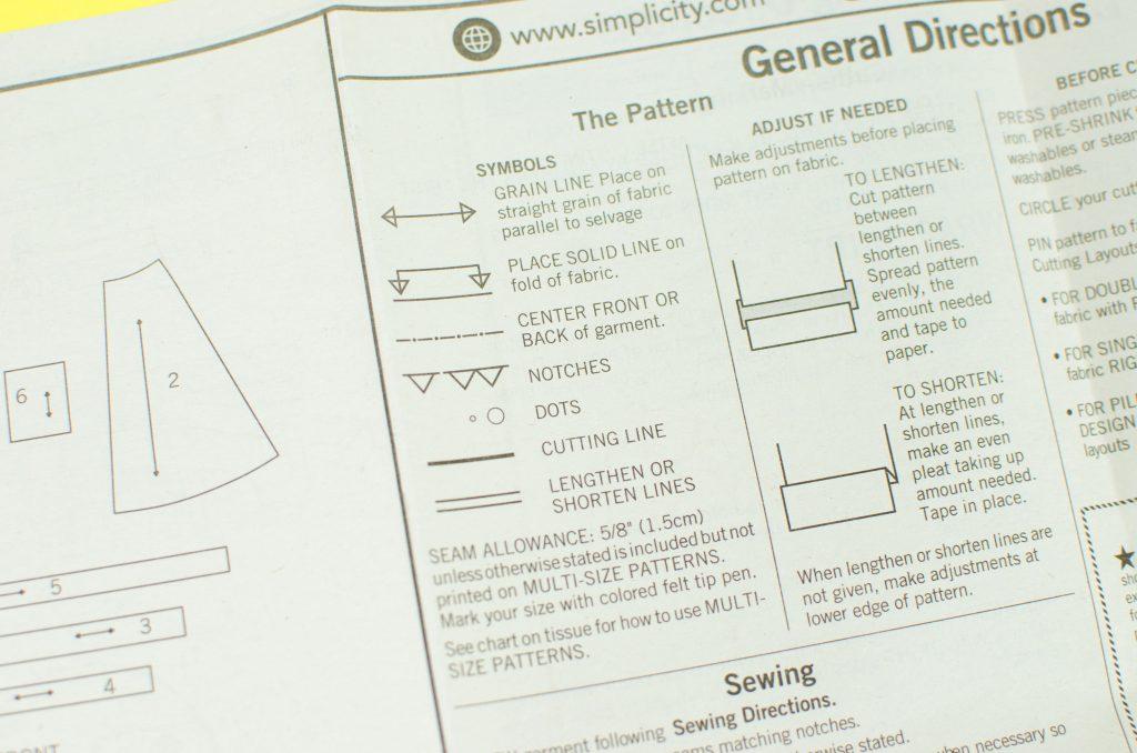 Sewing pattern instruction sheet showing symbols key