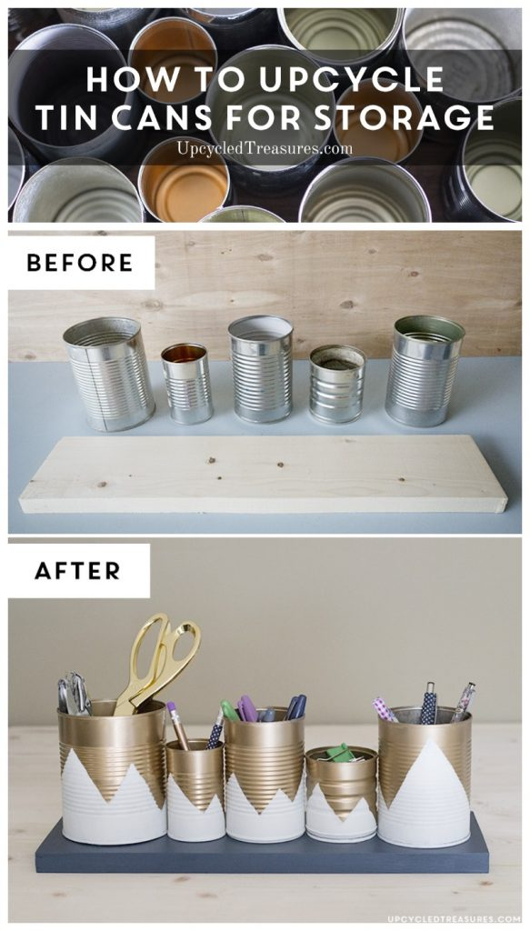 Upcycled Tin Can Organizer