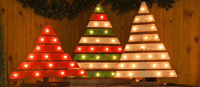 DIY Christmas Trees With Marquee Lights