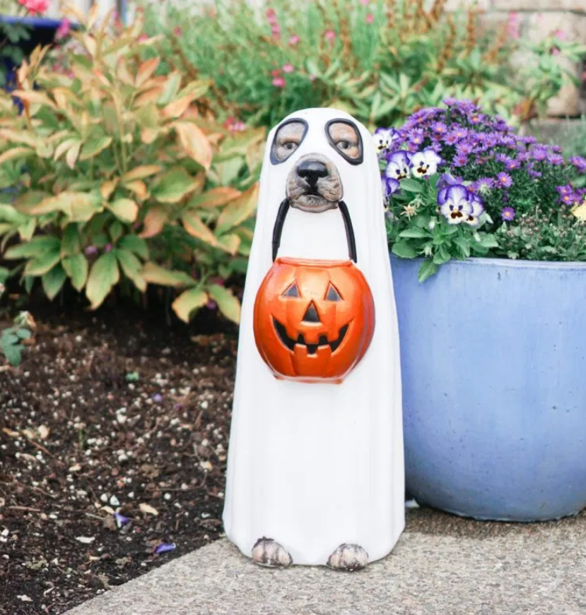 dog statue turned into ghost for halloween