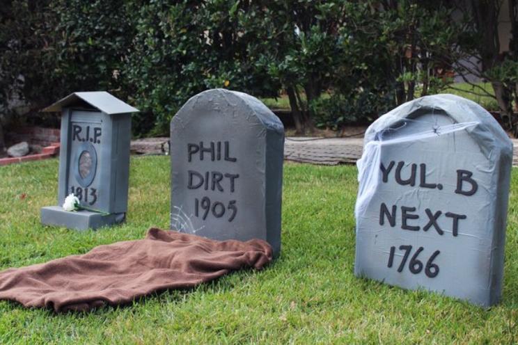 cardboard grave stones