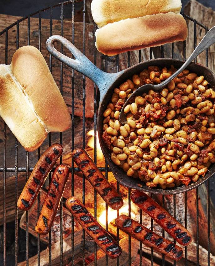 Hot Dogs With Quick Cast-Iron Beans
