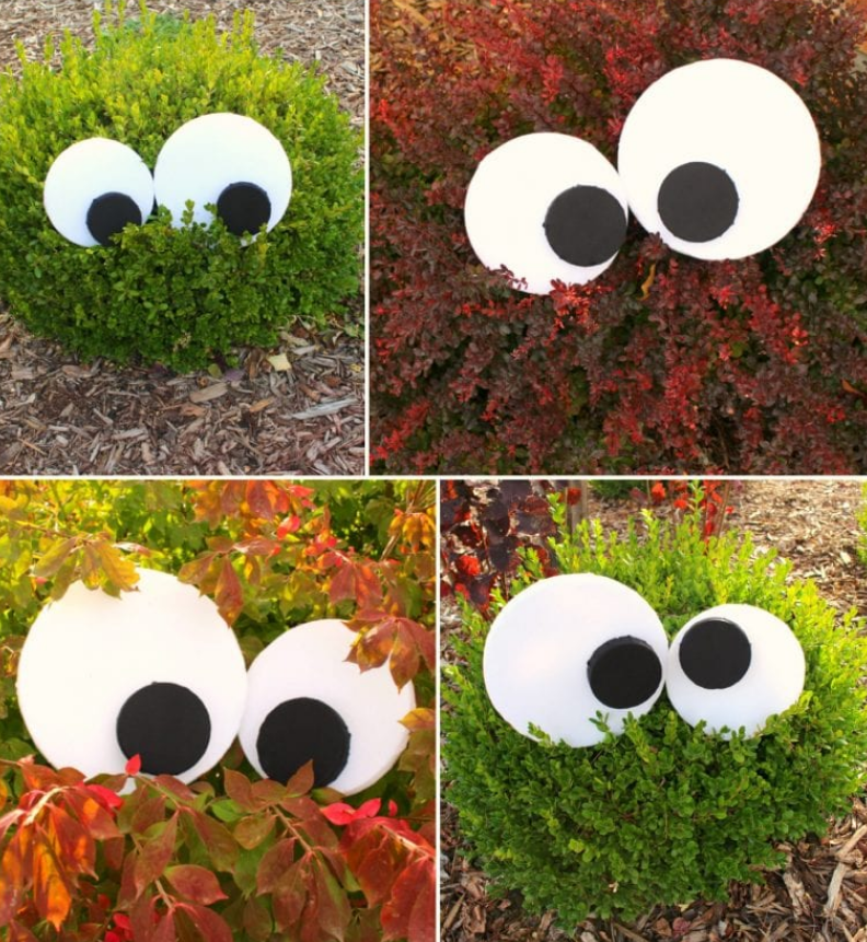 turn bushes into yard monsters for halloween