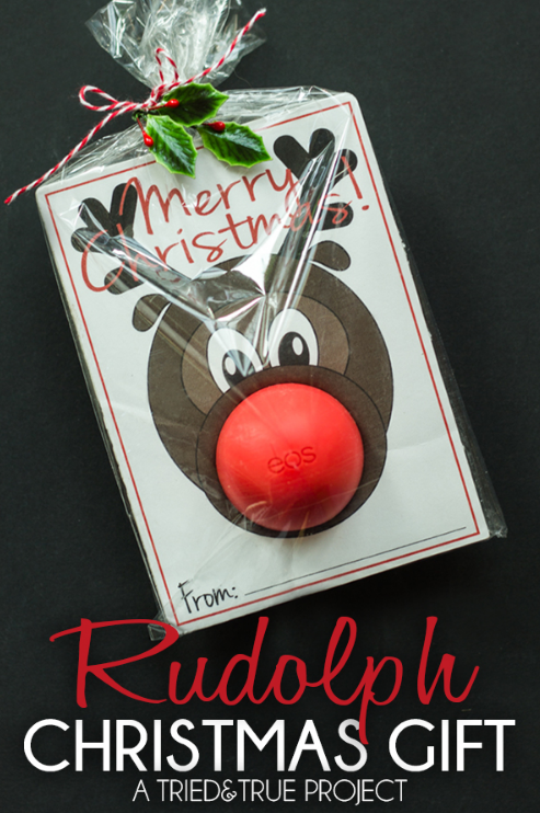 Rudolph lip balm - makes a great Christmas gift you can make on a budget