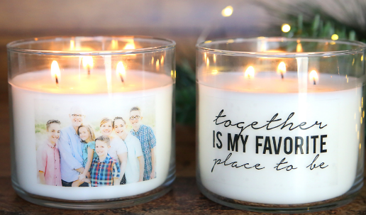 personalized candles - makes a great Christmas gift you can make on a budget