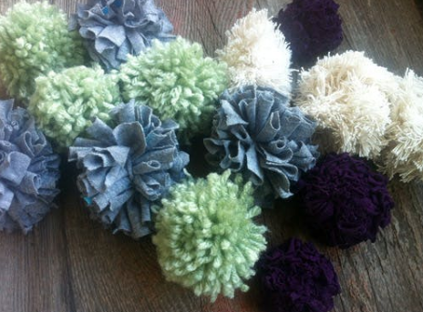 pompoms you can make from an old shirt