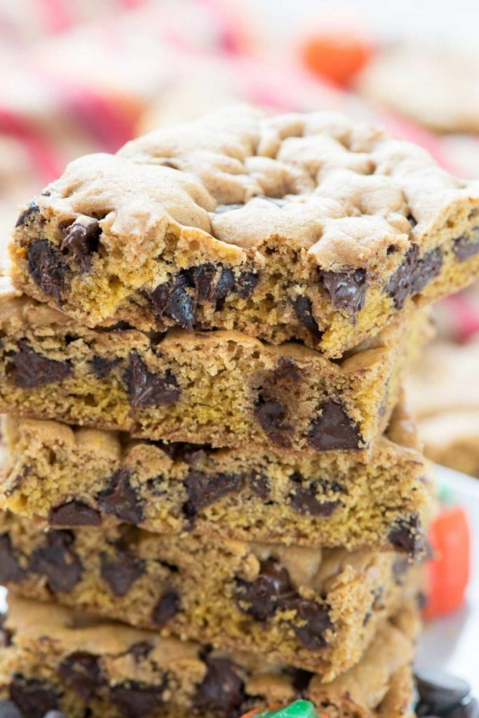 pumpkin cookie turned into a cookie bar full of chocolates