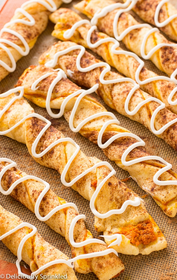 Pumpkin pie twist drizzled with cream cheese frosting