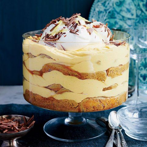 Pumpkin tiramisu served with shaved chocolate and candied ginger