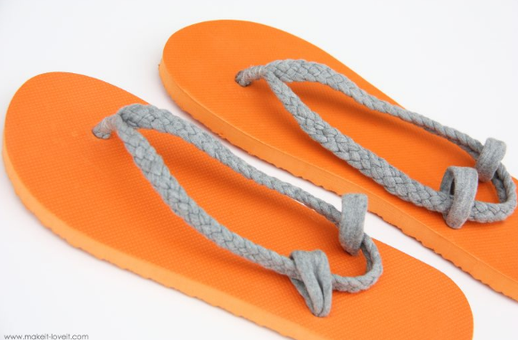 flip flop straps you can make from an old shirt