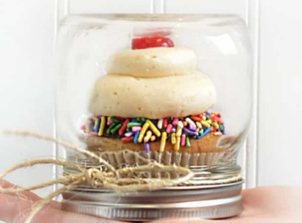 Cupcake under glass - makes a great Christmas gift you can make on a budget
