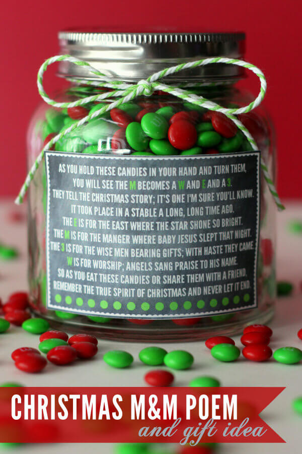 CHRISTMAS M&M POEM + GIFT IDEA HOLIDAY CRAFT