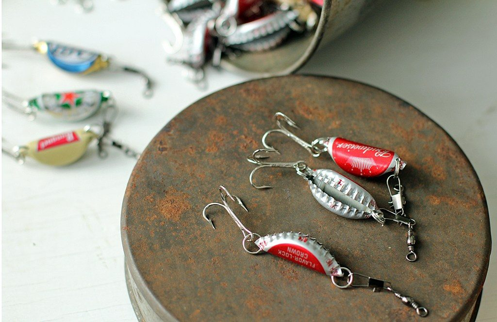 Fishing lures made from bottle caps - makes a great Christmas gift you can make on a budget