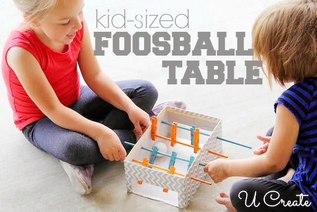 mini foosball table - makes a great Christmas gift you can make on a budget