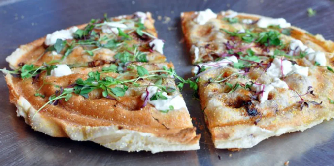 waffle iron pizza - recipes you can make in your dorm room
