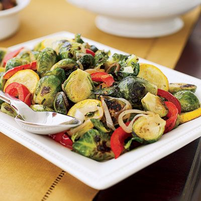 Saute Brussels Sprouts and Squash