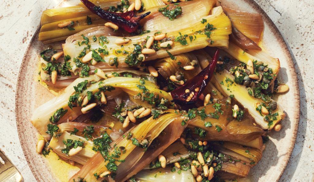 Glazed leeks with pine nut salsa verde